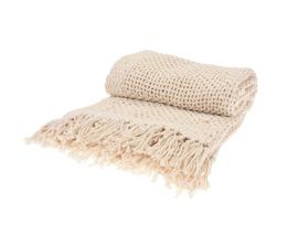 Pled Knitted z frędzlami - beżowy
